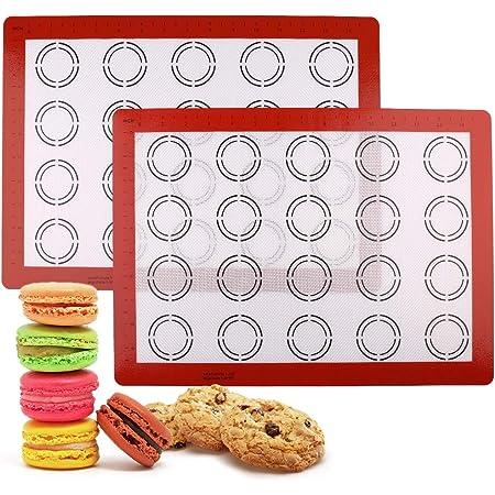 """LotFancy Macaron Silicone Baking Mat - Set of 2 Half Sheet (11 5/8"""" x 16 1/2"""") Macaron Mat - Non Stick Baking Liner Sheet for Cookie Bun Pastry Bread Making, BPA Free"""