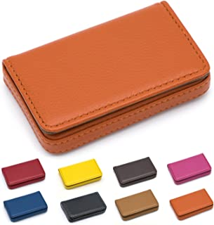 Padike Business Name Card Holder Luxury PU Leather,Business Name Card Holder Wallet Credit Card ID Case/Holder for Men & Women - Keep Your Business Cards Clean(Orange)