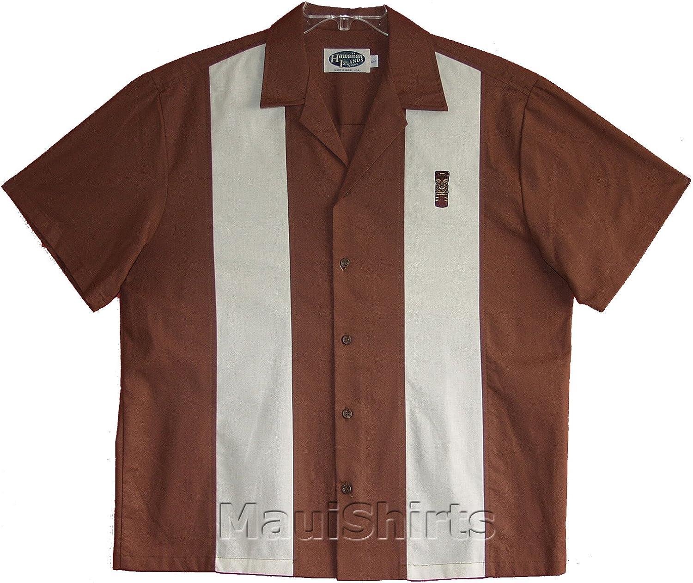 Tiki service God Embroidered Men's San Francisco Mall Solid Panel Cotton Retro Bowling Shir