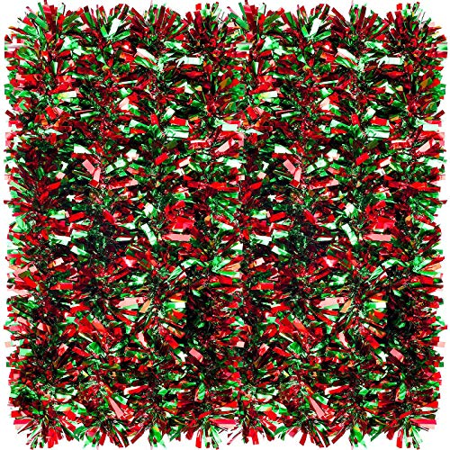26.2 Feet Christmas Tinsel Garland Metallic Christmas Tree Garland Shiny Party Tinsel Garland Hanging Decorations for Christmas Tree Decorations Wedding Birthday Party Supplies (Red and Green)