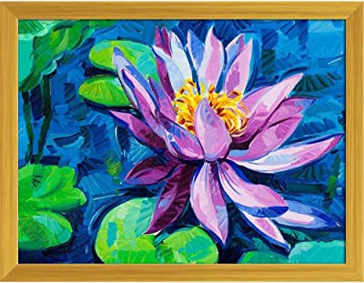 ArtzFolio Beautiful Water Lily D2 Tabletop Painting Golden Frame 12.9 X 10Inch