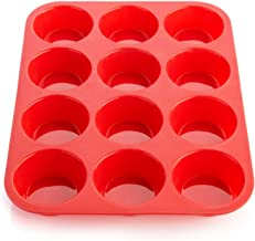 Lukzer (1 PC) Silicone Reusable 12 Cupcake Mould/Non Stick Muffin Baking Tray Pan Baking Tool for Home Kitchen/Microwave Oven Cake Mold 33 X 25 X 3 cm (Random Color)