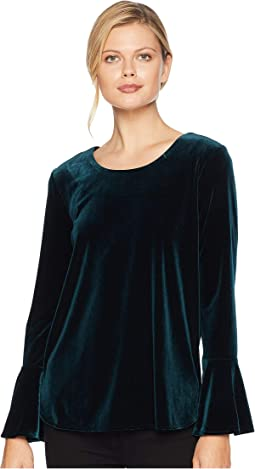Velvet Long Sleeve Bell Sleeve Top