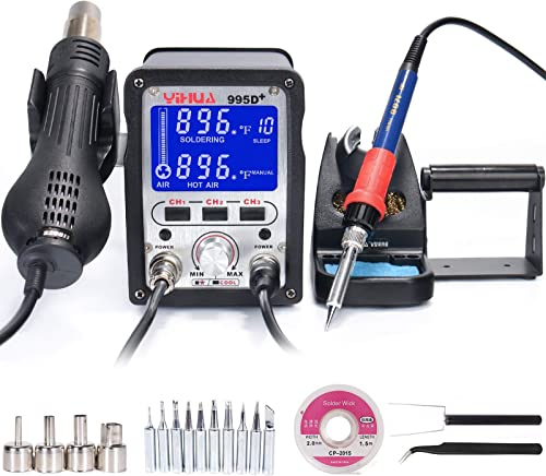 high quality YIHUA 995D+ 2 in 1 Hot Air Rework and Soldering outlet sale Iron Station with sale 3 Memories, Large LCD Screen Display, Cool Air/Hot Air Conversion, Sleep Mode, °F /°C and more. sale