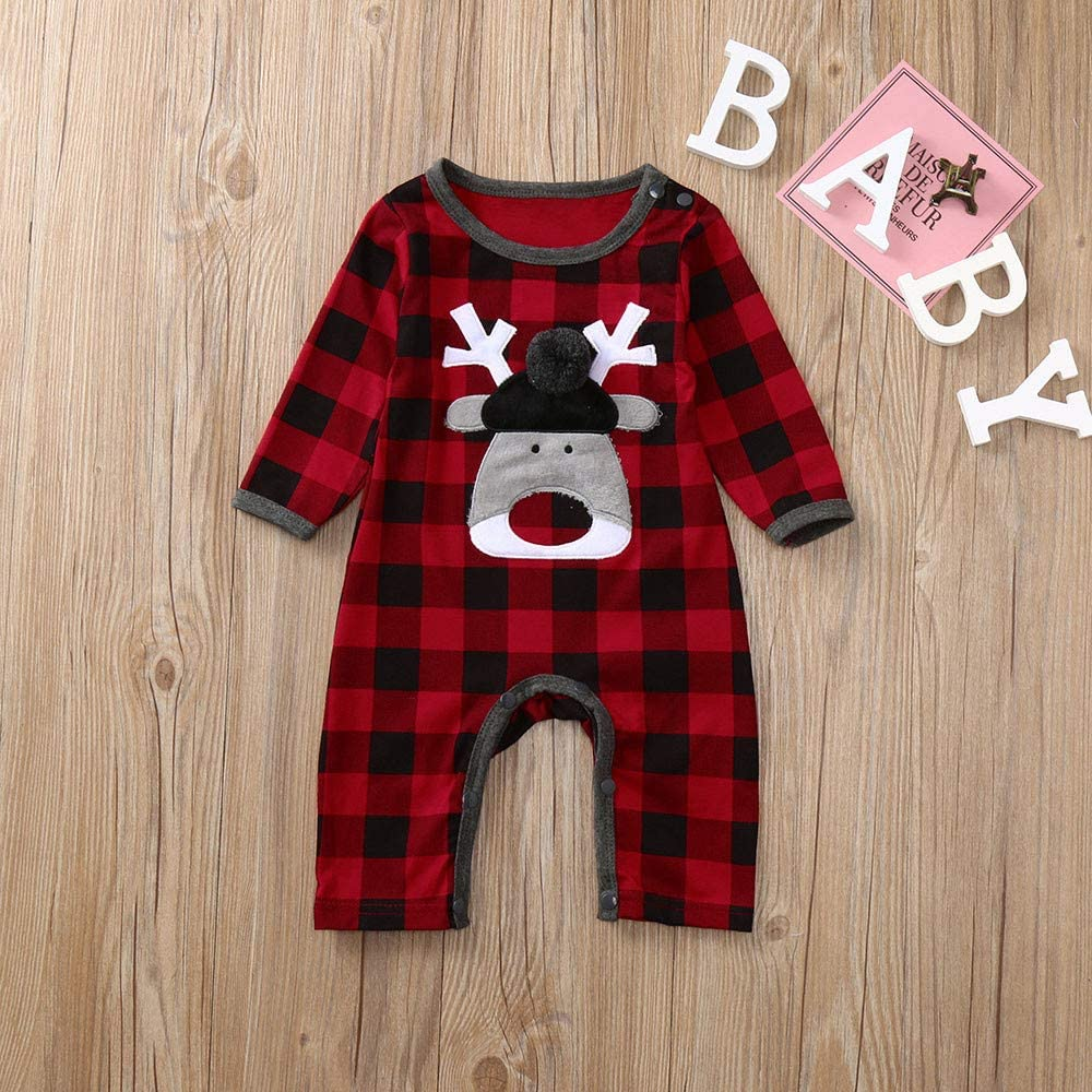 SUNBIBENewborn Baby Boys Girls Cute Christmas Long Sleeve Plaid Deer Romper Jumpsuit Outfits Clothes Nightwear Pajamas