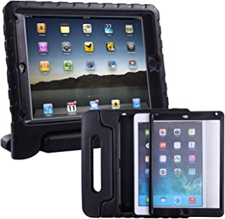 HDE Case for iPad Air - Kids Shockproof Bumper Hard Cover Handle Stand with Built in Screen Protector for Apple iPad Air 1 - 2013 Release 1st Generation (Black)