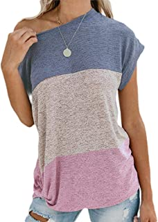 Mogogo Womens Color Block Twist Stitching One Shoulder Tee Shirt Tunic