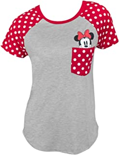 Best Junior Fashion Contrast Shoulder Top Minnie Pocket, Gray with Red Reviews