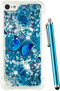 CAIYUNL for iPod 6 Case, iPod Touch 6 Case Glitter,Liquid Sparkle Bling Quicksand Kids Girls Women Clear TPU Protective Cute Cover for Apple iPod Touch 5 Gen/iPod Touch 5th Generation-Blue Butterfly
