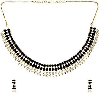 Efulgenz - Set di gioielli con collana e orecchini pendenti in stile Bollywood, placcati in oro, con strass e perle finte