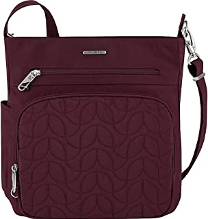 Anti-Theft Quilted North South Bag - Medium Nylon Crossbody for Travel & Everyday - (Dark Bordeaux/Dusty Rose Interior)