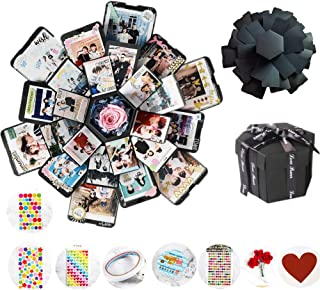 Explosion Gift Box, DIY Photo Album Box Handmade Album Scrapbook, Surprise Gift Box with 6 Faces for Birthday Anniversary Wedding Christmas Valentine's Day