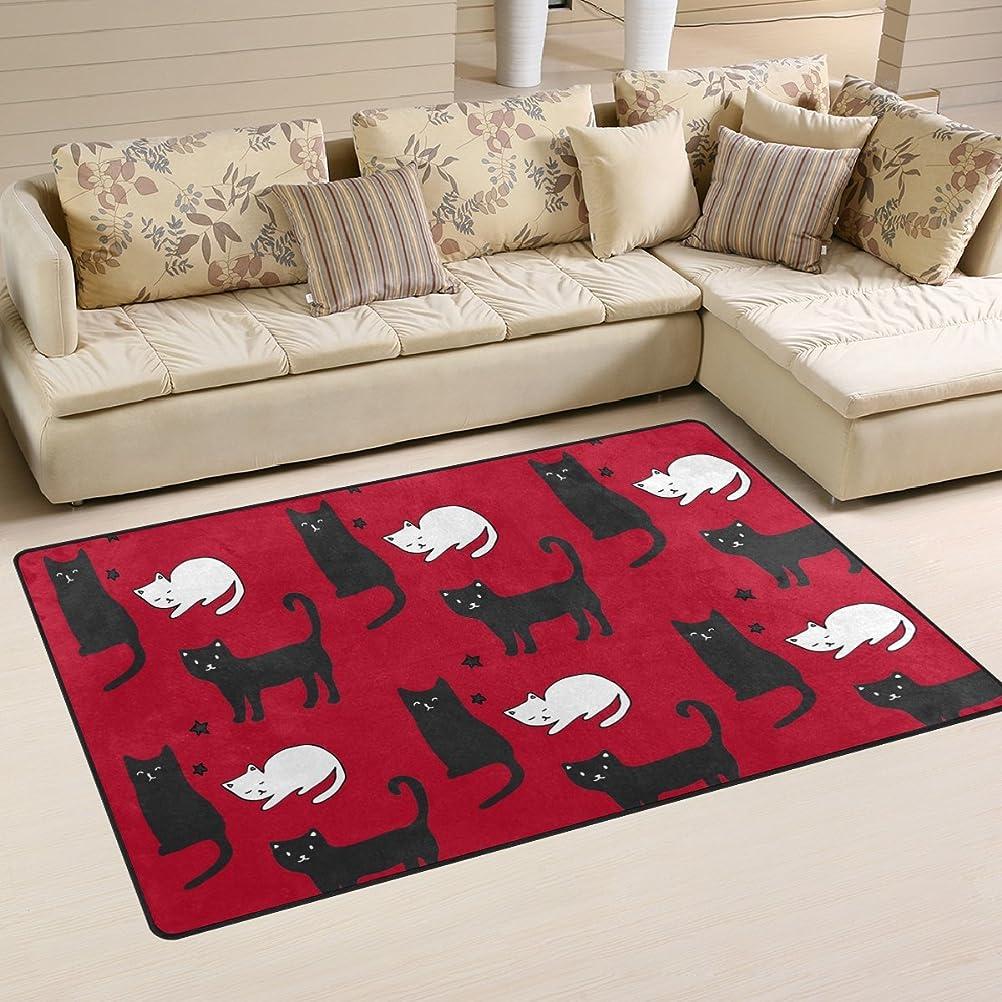 葬儀フォームかもしれないバララ(La Rose) ラグ カーペット マット 洗える おしゃれ 滑り止め 絨毯 赤い レッド ネコ 猫柄 ホットカーペット ウォッシャブル 心地よいサラふわ触感 折り畳み可 床暖房 対応 約幅79x51cm
