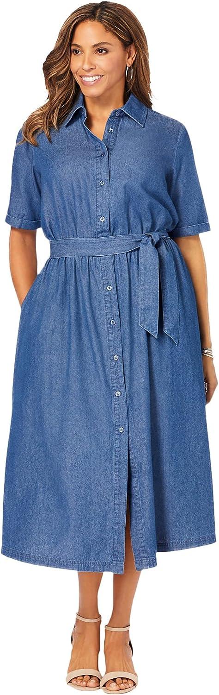 Jessica London Women's Plus Size Soft Denim Shirtdress