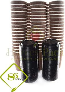 [85 SETS] 16 oz Disposable Double Walled Hot Cups with Lids - No Sleeves needed Premium Insulated Ripple Wall Hot Coffee Tea Chocolate Drinks Perfect Travel To Go Paper Cup and lid Brown Geometric