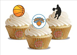 12 x Basketball New York Knicks Mix - Fun Novelty Birthday PREMIUM STAND UP Edible Wafer Card Cake Toppers Decoration