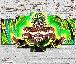 TOPRUN Cuadro Lienzo 5 Piezas Material no Tejido impresión Moderno Pared Decorativos Sala Oficina Estar apartamento Marco Enmarcado Listo Colgar Dragon Ball Super Broly Película