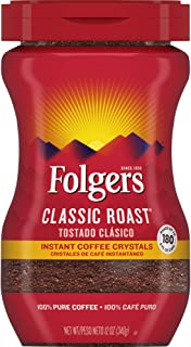 Folgers Classic Roast Instant Coffee Crystals, 12 oz (Pack of 6), Packaging May Vary