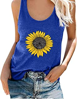 Cami Women Sunflower Pattern Tank Top Summer Tunic Vest Tshirt Casual Tee Shirt Tops Blouse Casual (Color : Blue, Size : M...