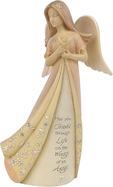Enesco Foundations Travel Angel Figurine, 4.72 Inch, Multicolor