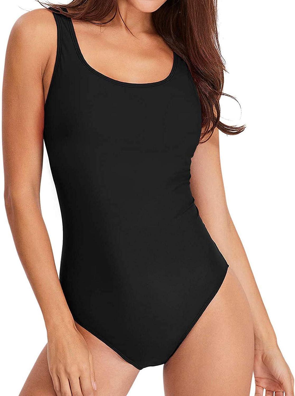 iCJJL Women Tummy Control Swimdress 1 Piece Skirted Swimming Suit Slimming Tankini Swimwear Plus Size Beach Swimsuit (Small,Black)