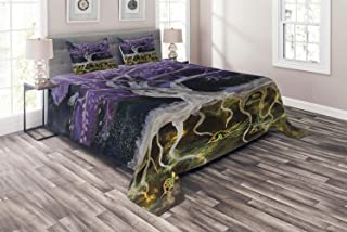 Ambesonne Tree of Life Coverlet, Psychedelic Mysterious Tree at Night with Birds and Fishes Home Art, 3 Piece Decorative Quilted Bedspread Set with 2 Pillow Shams, King Size, Purple Black