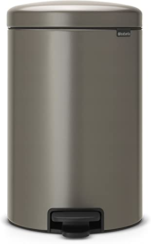 Brabantia 114045 Pedal Bin newICON 20L Waste Bin, Platinum, 1 Piece