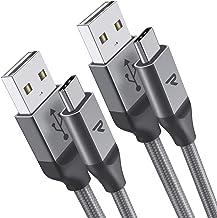 Câble USB Type C à USB Rampow [2m/Lot de 2] - Garantie à Vie - Charge Ultime Rapide - Câble USB C Nylon Tressé en Fibre pour Samsung S10/S9/S8/Note 9, Sony Xperia, Honor, LG - Gris Clair
