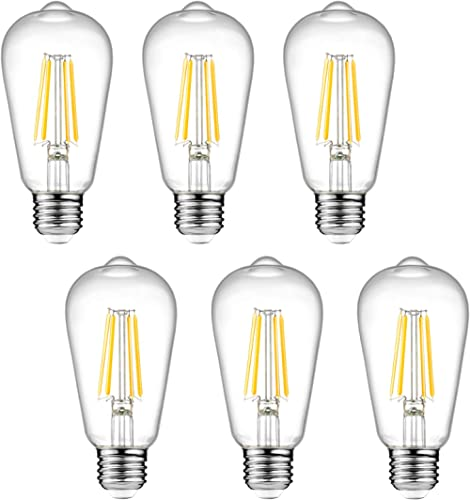 Dimmable Ascher Vintage LED Edison Bulbs, 6W, Equivalent 60W, 700lm, Warm White 2700K, ST58 Antique LED Filament Bulb...