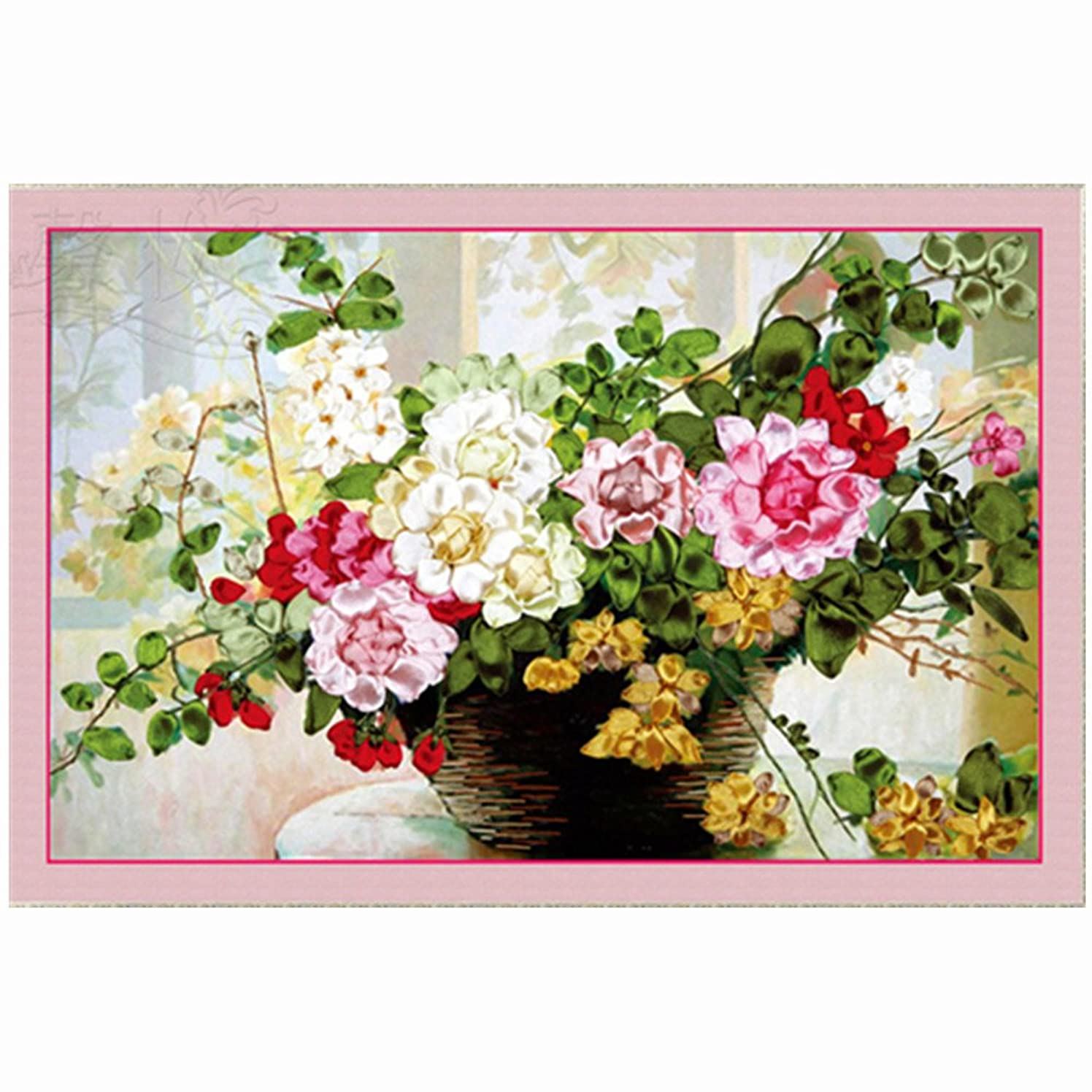 Ribbon Embroidery Spring Breeze DIY Wall Decor Stamp Ribbon Embroidery Kit No Frame Spring Breeze