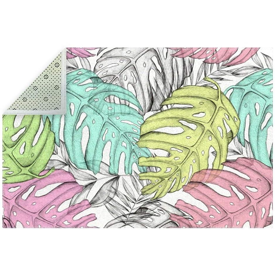 献身オーバーフローどきどきAyuStyle ラグ カーペット ラグマット 葉 熱帯 植物 夏 絨毯 マイクロファイバー 滑り止め 洗える ウォッシャブル ホットカーペット対応 フロアマット 200×150cm