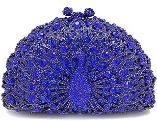 Honana Party Bags for Women Lady Rhinestone Dinner Bag Lady Handmade Bags Elegant Banquet Clutch Bag Shoulder Chain Bag Dress Hard Shell Gift Makeup Bag Peacock Shape Women's Fashion