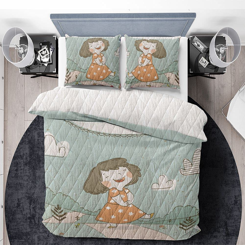Hello Spring Girl in Forest Quilts 3Psc with Bedding Regular dealer Icludes Max 90% OFF Set