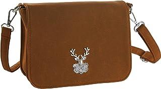 dressforfun 900653 Damen Trachten Handtasche Heimatliebe, Schicke Trachtenhandtasche in Wildlederoptik (Braun | Nr. 303284)