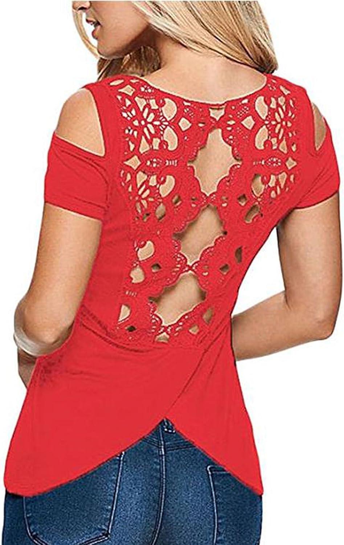 ELEGZO Women Lace Crochet Back Cold Shoulder Short Sleeve Top T Shirt