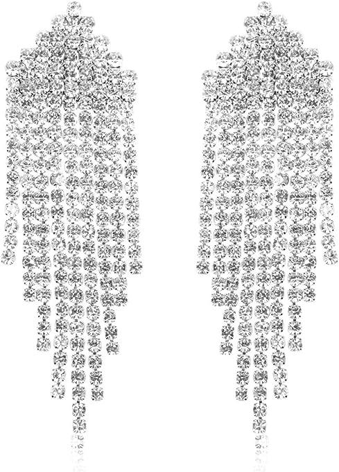 RIAH FASHION Sparkly Rhinestone Chandelier Drop Statement Earrings - Bridal Wedding Crystal Cubic Dangles Cascade, Teardrop, Fringe Tassel, Waterfall Duster (Art Deco Fringe Duster - Silver)