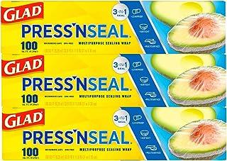 Glad Press'n Seal Plastic Food Wrap - 100 Square Foot Roll - 3 Pack
