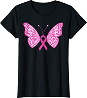 Womens Breast Cancer Awareness Pink Ribbon Tribal Butterfly Tattoo T-Shirt