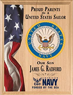 Broad Bay Proud Navy Parent Sign Plaque or Gift Official Personalized US Navy Custom for Navy MOM or Navy DAD