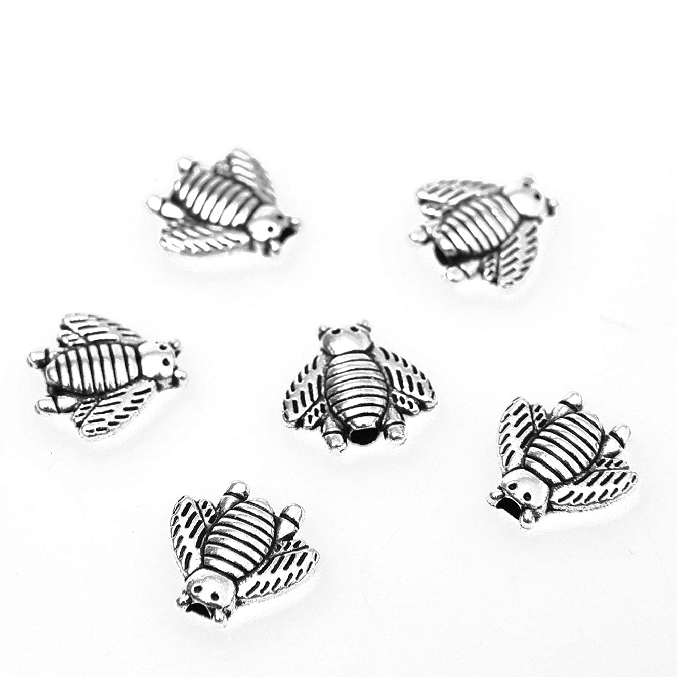 Monrocco 100 Pcs Antique Silver Metal Alloy Bee Spacer Beads Charm for Bracelets Jewelry Making