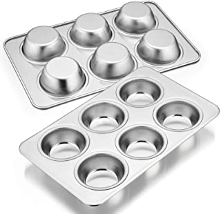 Muffin Pan Set of 2, E-far Stainless Steel Muffin Pan Tin for Baking, 6-Cup Metal Cupcake Pan Tray, Non-toxic & Healthy, O...