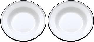 Crow Canyon - Set of 2 Enamelware 8in Raised Salad/Snack Plates (Black Rim)