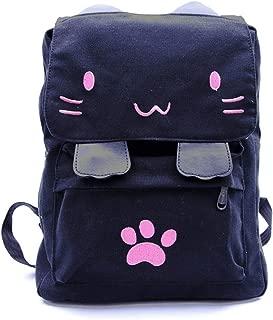 Cute Cat Canvas Backpack Schoolbag Lightweight Bookbag For Women Kids Girls Outdoor (pink02)
