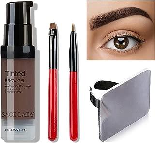 SACE LADY Semi Permanent Eyebrow Gel Makeup Kit, Waterproof Tint Brow Enhancer Color Gel with Eyebrow Sculpting Brushes, Makeup Mixing Blending Palette Tool (2.Dark Brown)