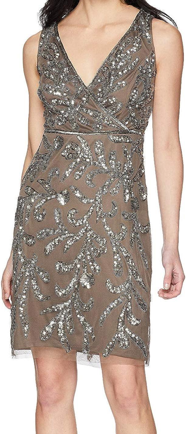 Adrianna Papell Women's Petite Short Beaded Dress