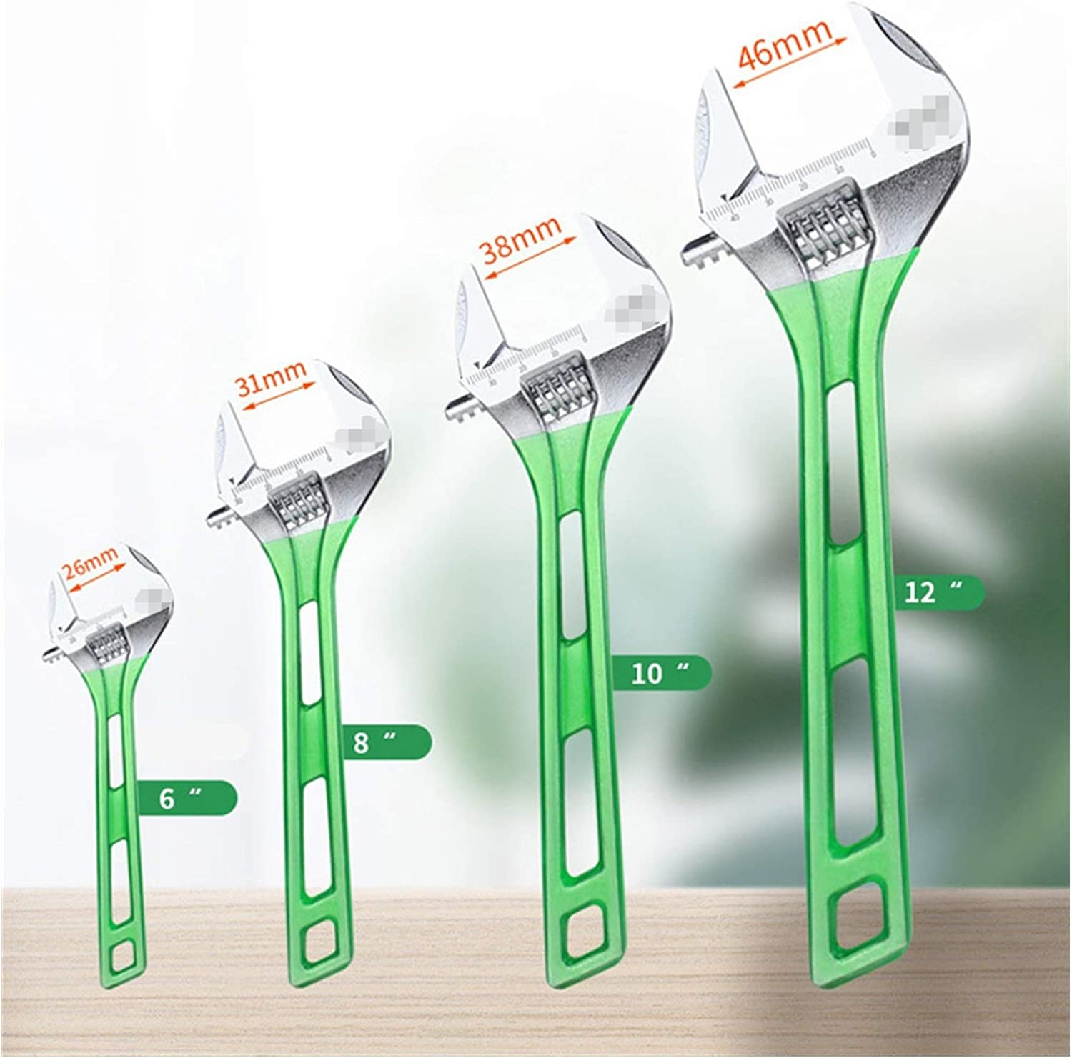 Color : 12inch LA320712 Without Socket Wrench Mechanic Tool Set Portable Wrench Large Open Adjustable Spanner 6inch 8inch 10inch 12inch Wrench Tools ousehold Maintenance Tool