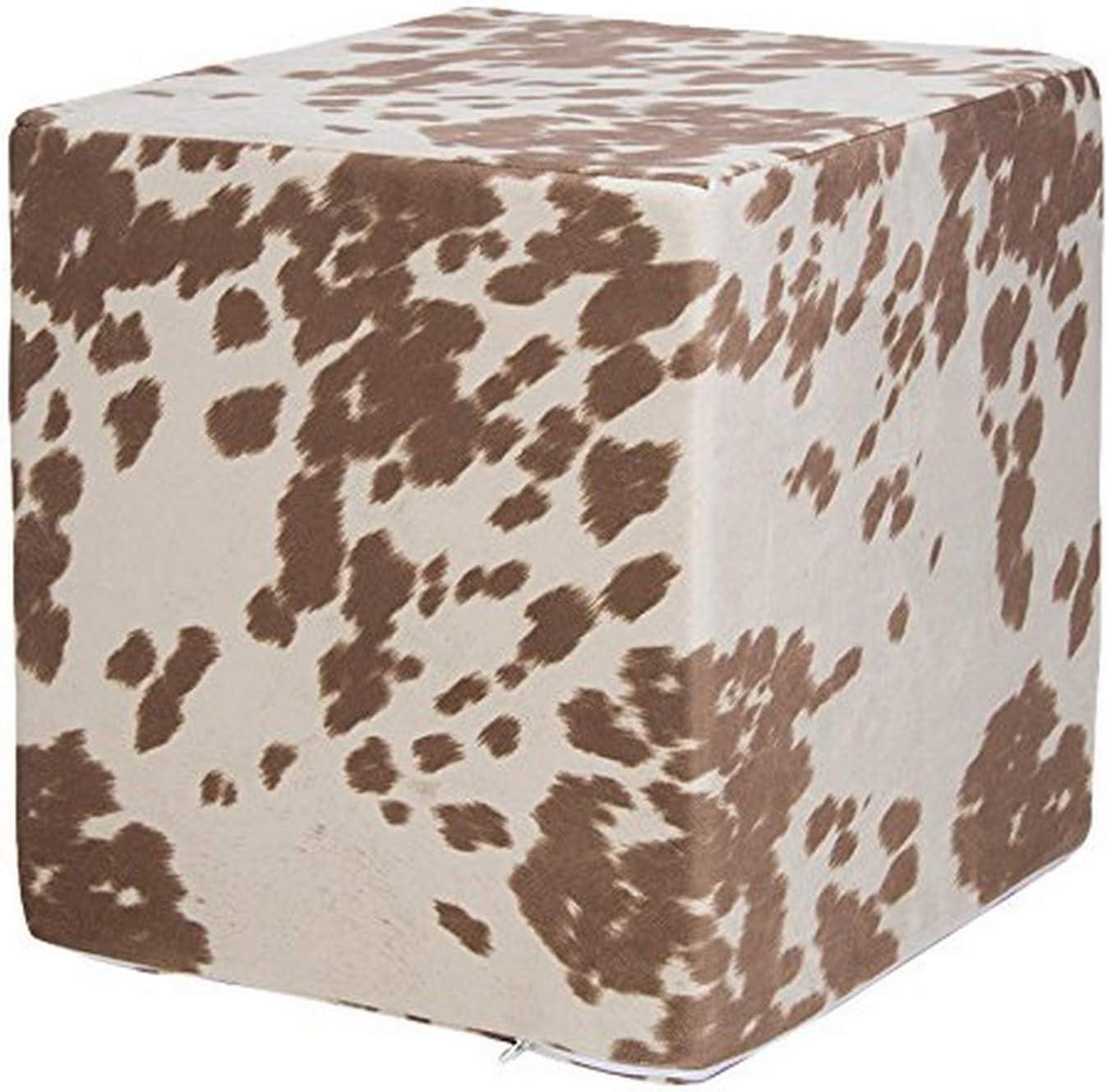 Glenna 40% OFF Cheap gift Sale Jean Sweet Potato Happy Trails Pouf Print Tan Cow