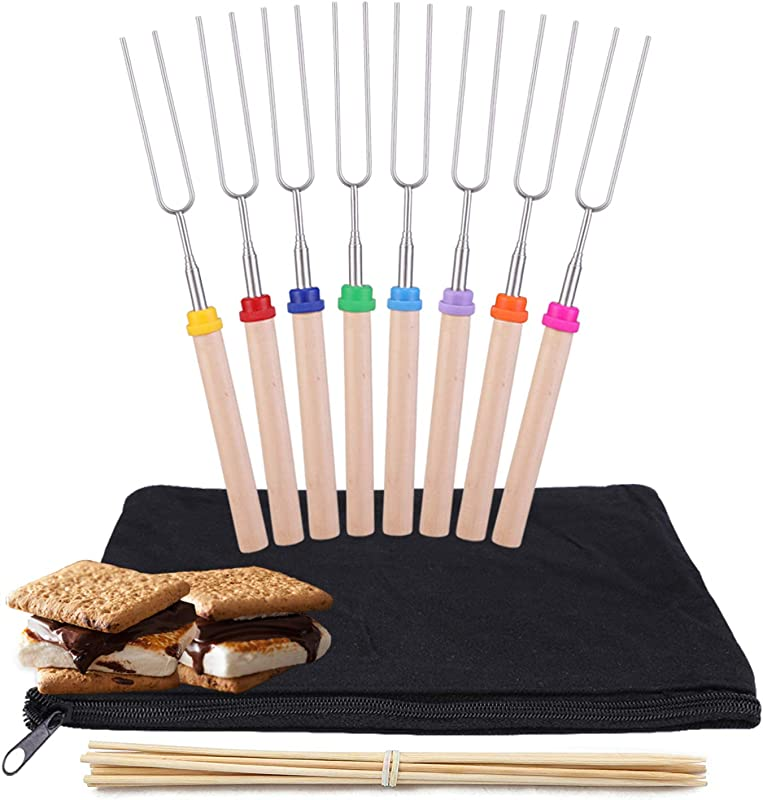 Kubo Telescoping Marshmallow Roasting Sticks Set Of 8 Hot Dog Forks Smores Skewers Camping Cookware 32 Inch Campfire Roasting Sticks For Kids