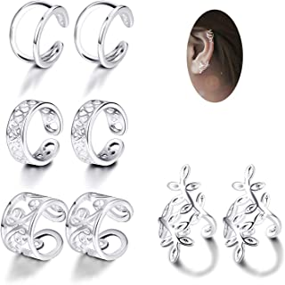 4 Pairs Silver Ear Cuff Earrings for Women Girls Clip on Fake Lip Cartilage Tragus Helix Body Jewelry Set