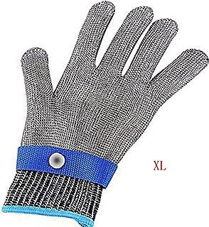 KEoly Guanti in filo di acciaio inossidabile di grado 5 / guanti a prova di taglio/guanti resistenti alle infiltrazioni/guanti in rete metallica (Blu, X-Large)
